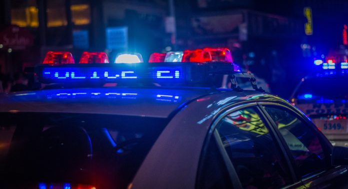A police car with lights on