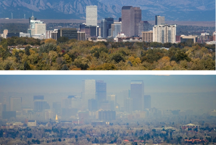 Clear Denver skyline compared to a greenhouse gas emission clouded one