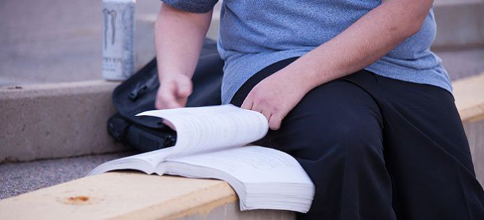 A student studies for the bar exam.