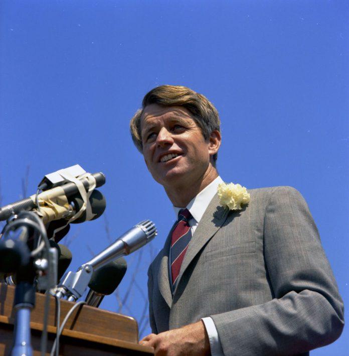 RFK giving a speech in 1968
