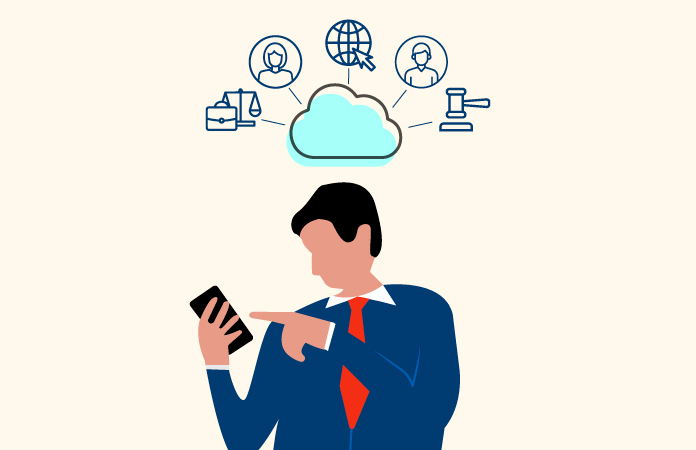 An illustration shows a man in a suit looking at his phone, above him in a cloud are the communities he's interacting with online represented by line-art icons.