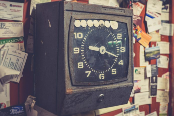 An old punch-in clock for employee timecards